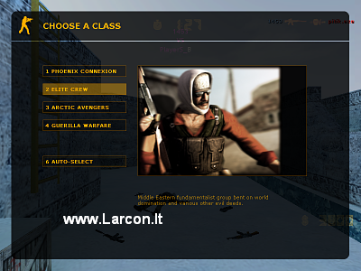 CS 1.6 Original - First screen-shot, terrorist's team, class choosing.