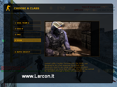CS 1.6 Original - Second screen-shot, Counter-Terrorist's (CT's) team, class choosing.