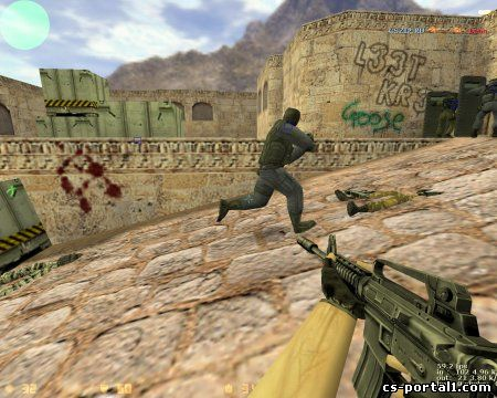 CS 1.6 v42 gameplay - Counter-Terrorist with M4A1 gun.